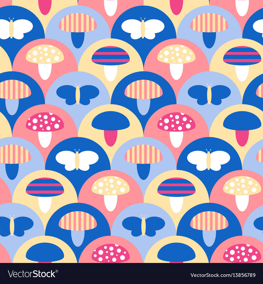 Stylized seamless pattern texture with mushrooms