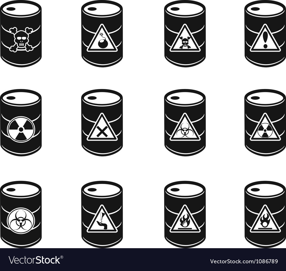 Toxic hazardous waste barrels icon vector image
