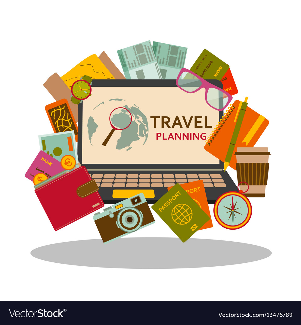 Travel planning flat concept