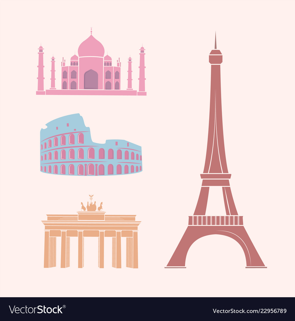 World famous sights and landmarks travel stickers