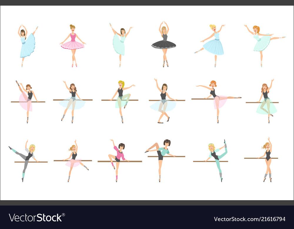 Ballerinas training in dance class set of flat