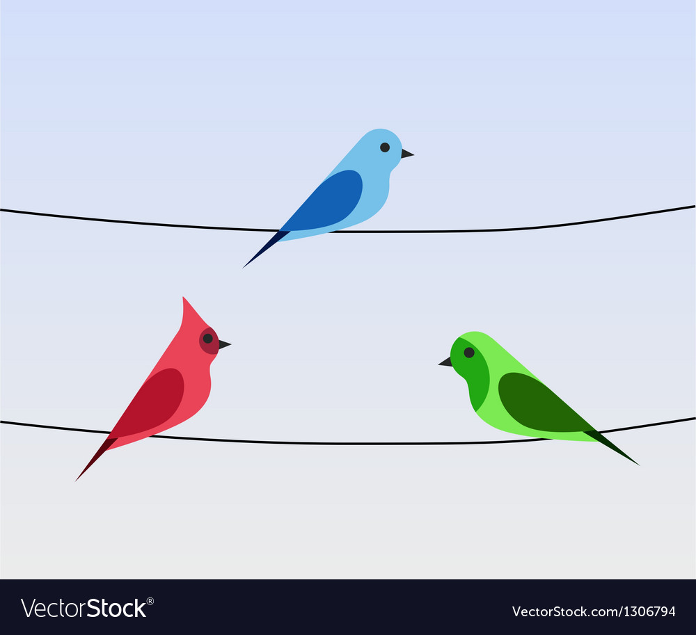 Birds On A Wire Royalty Free Vector Image Vectorstock