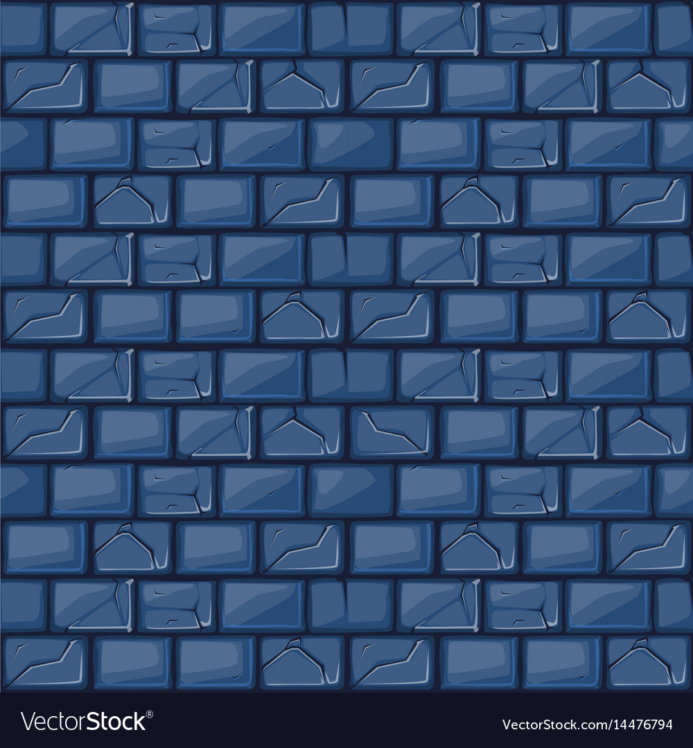 Cartoon blue stone wall texture Royalty Free Vector Image