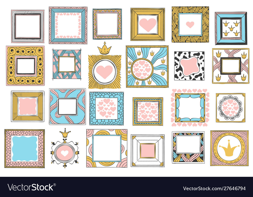 Hand drawn cute princess frames vintage color
