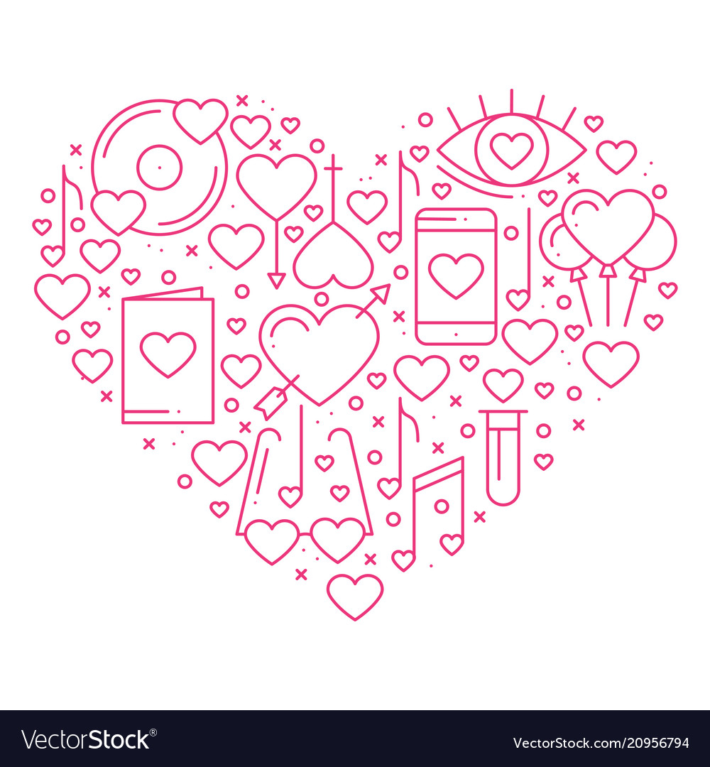 Heart with love symbols in line style love couple