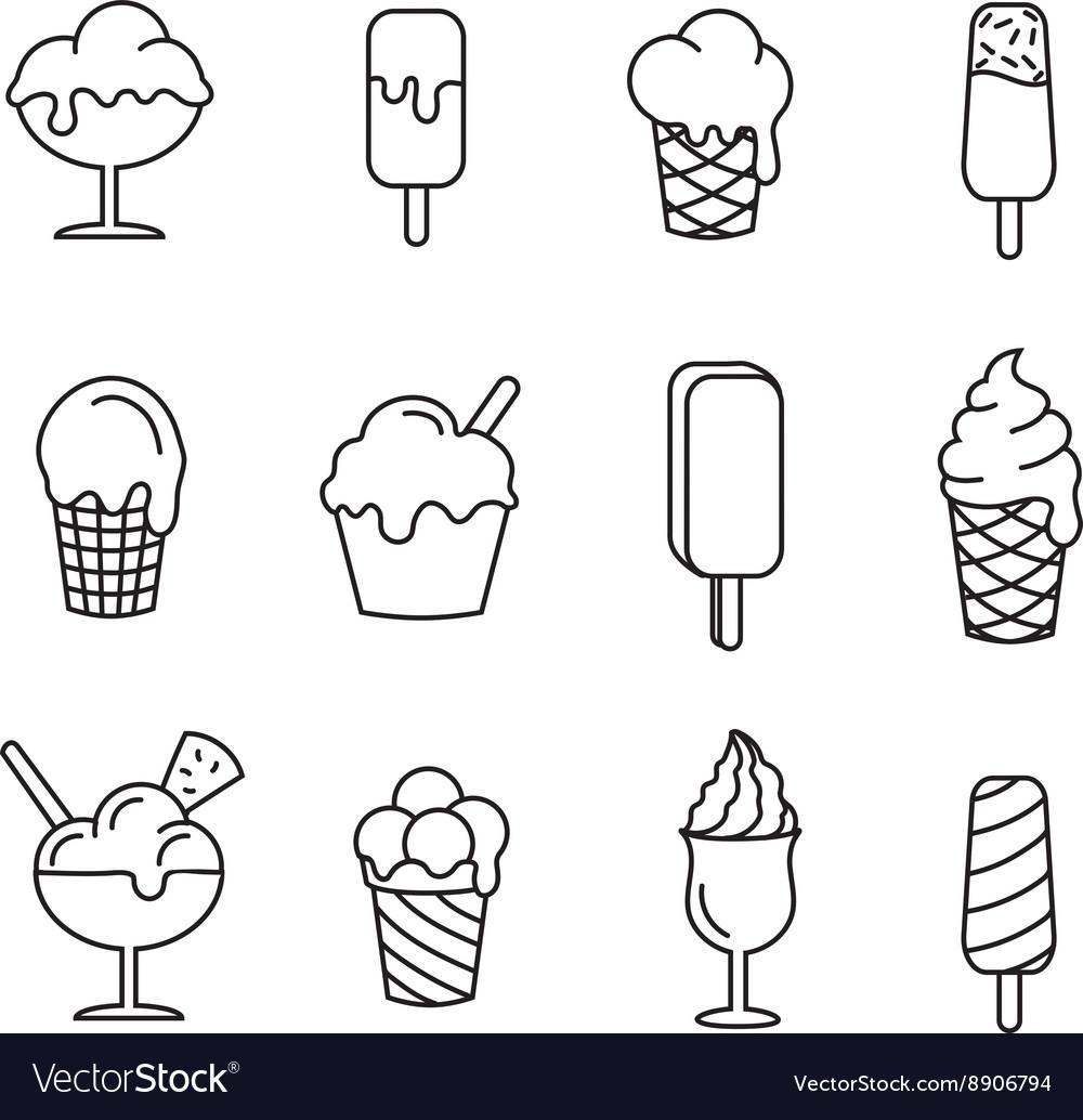 Ice cream set line icons vector image