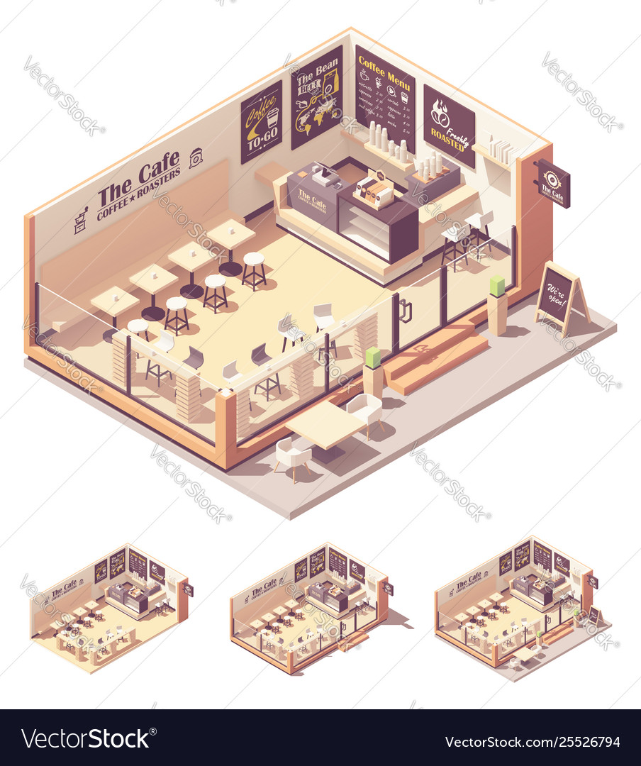 Isometric Coffee Shop Or Coffeehouse Royalty Free Vector