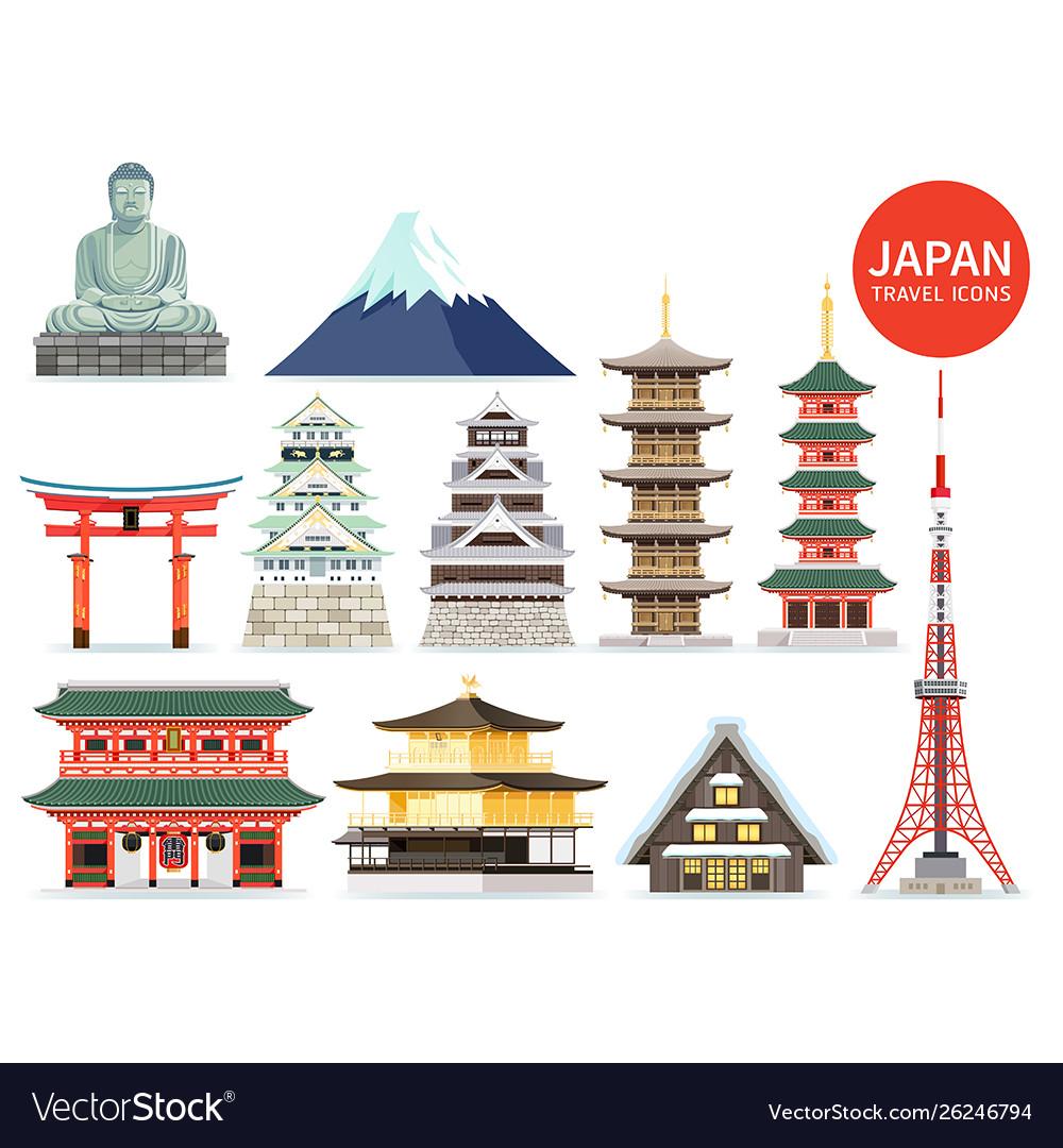 Japan famous landmark icons