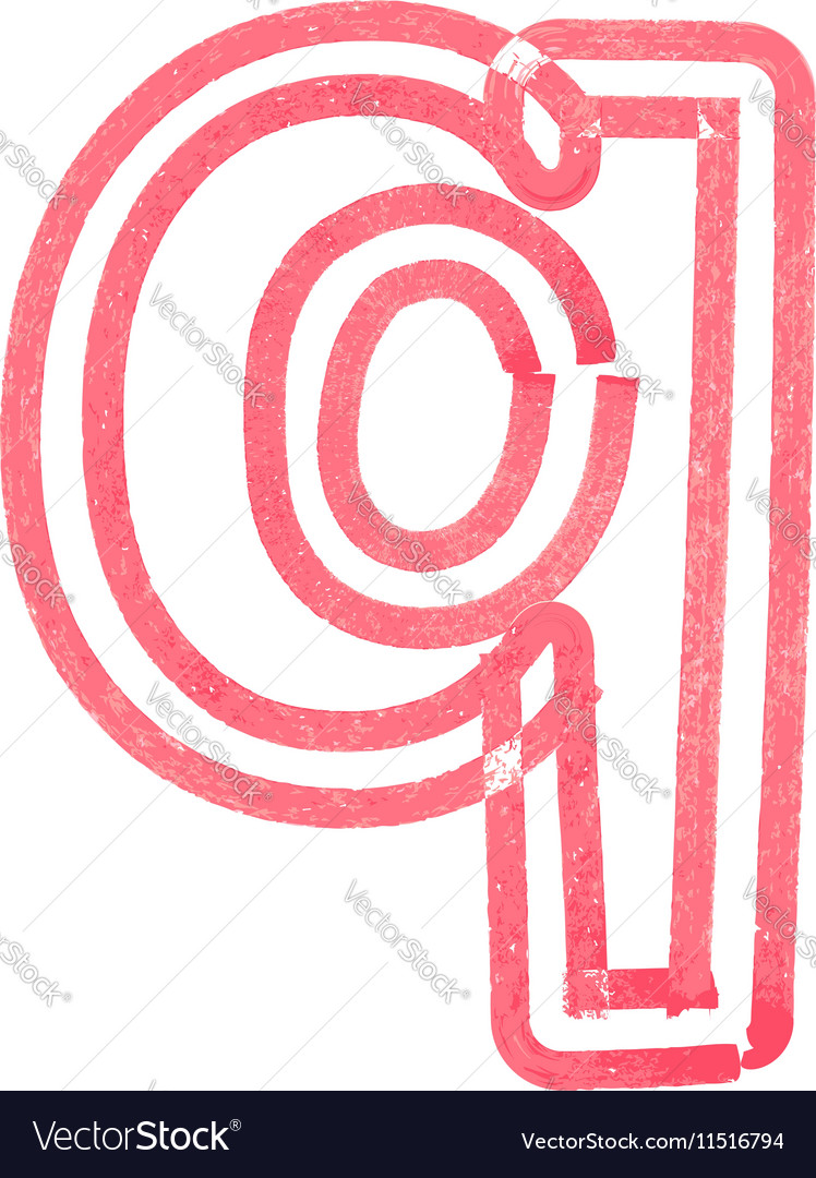 Lowercase letter q drawing with Red Marker