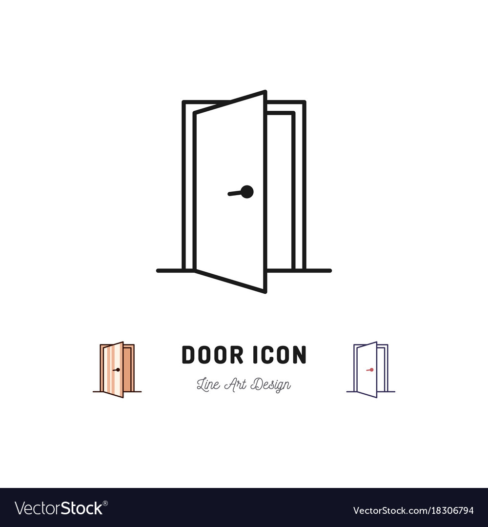Open door icon thin line art symbol vector image