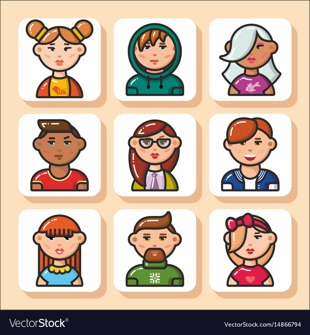 People face icons 31 vector image