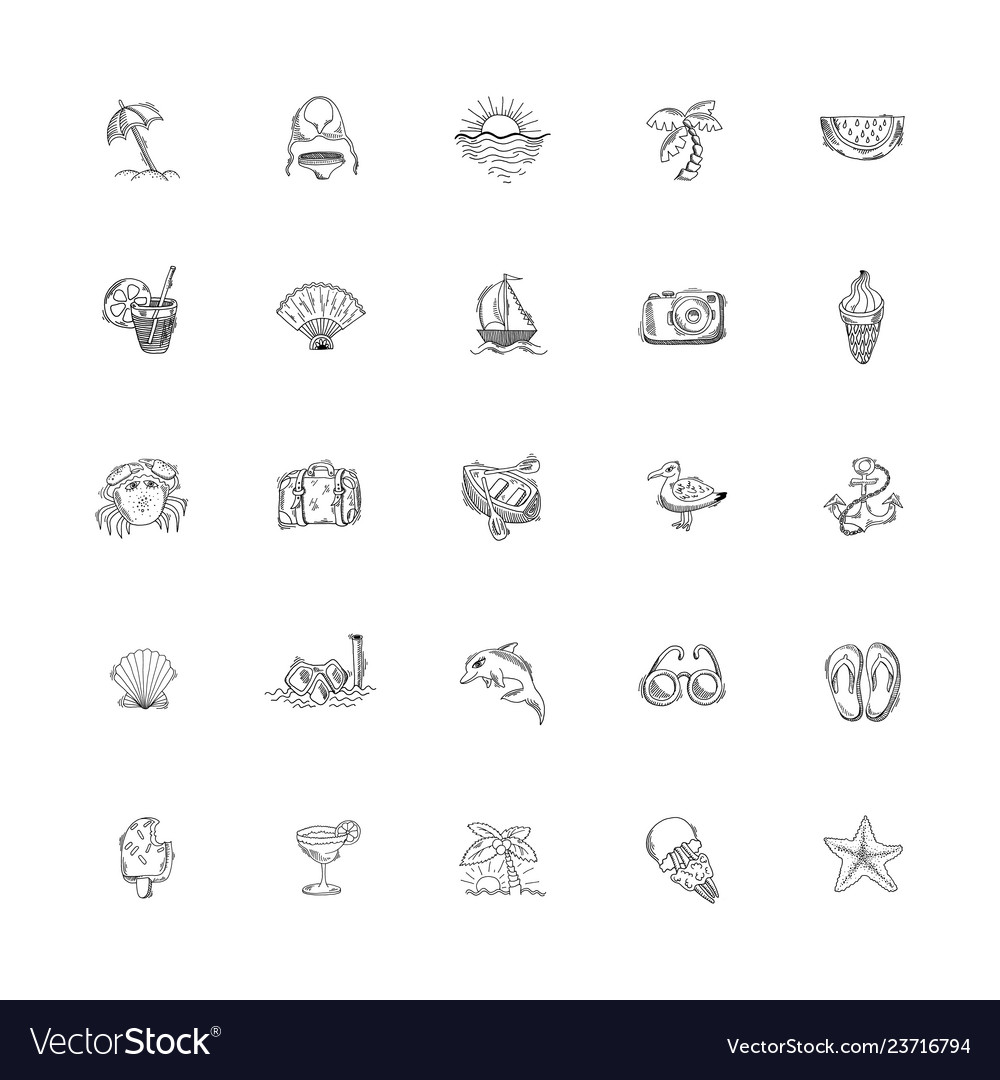Set of 25 hand drawing sketch icons summer themed