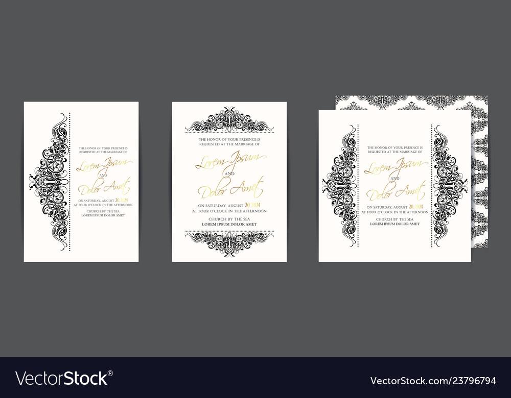 Set Of Three Wedding Invitation Cards