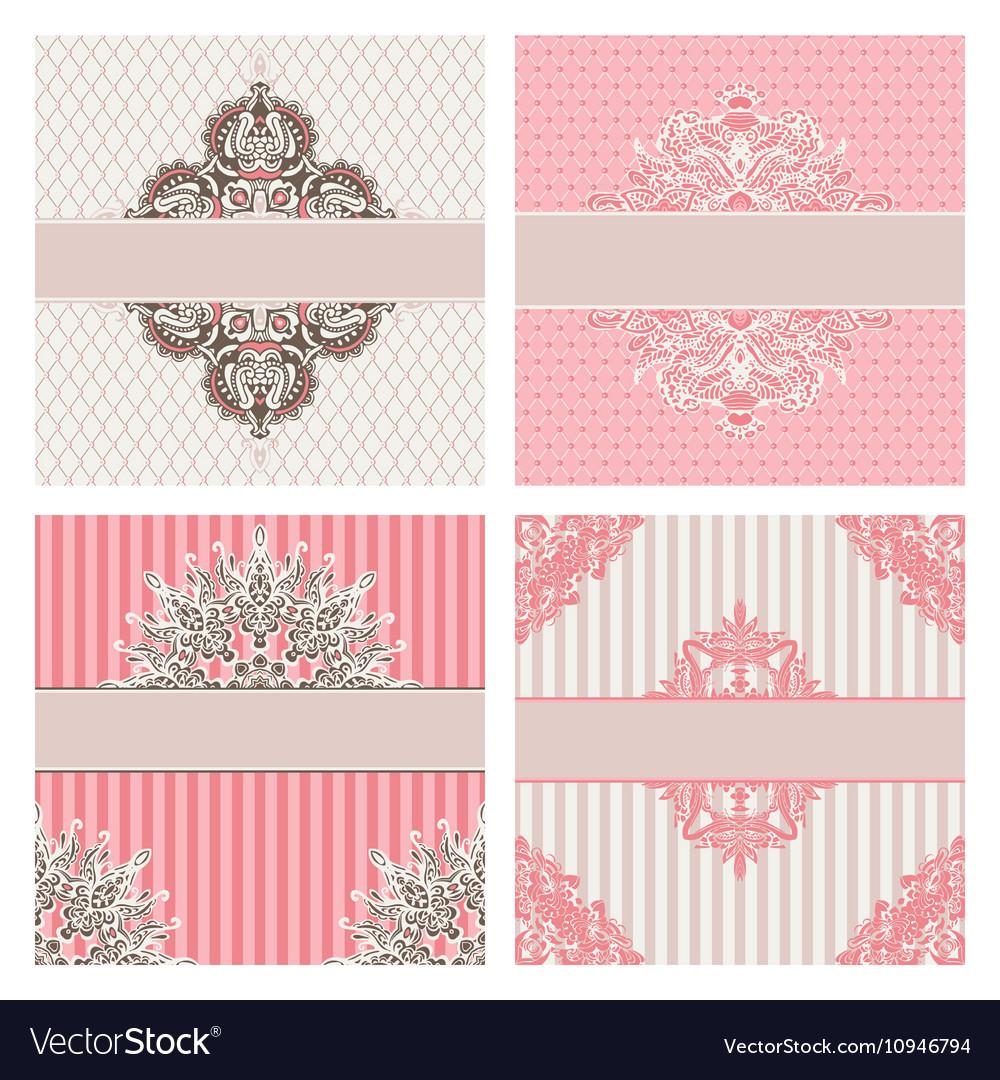 Set of vintage invintation borders vector image