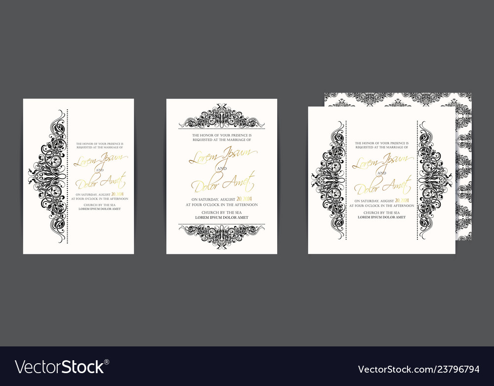 Set three wedding invitation cards