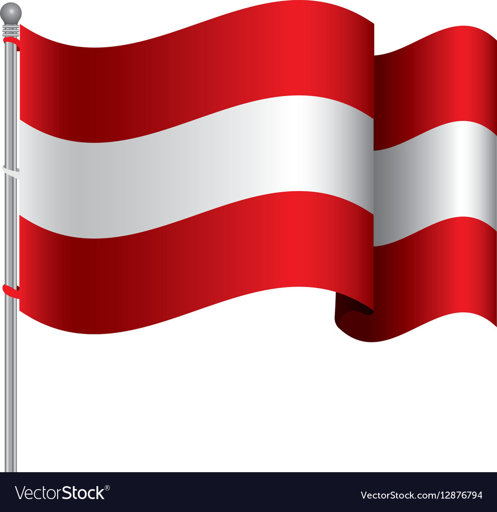 Silhouette color with waving flag of austria and