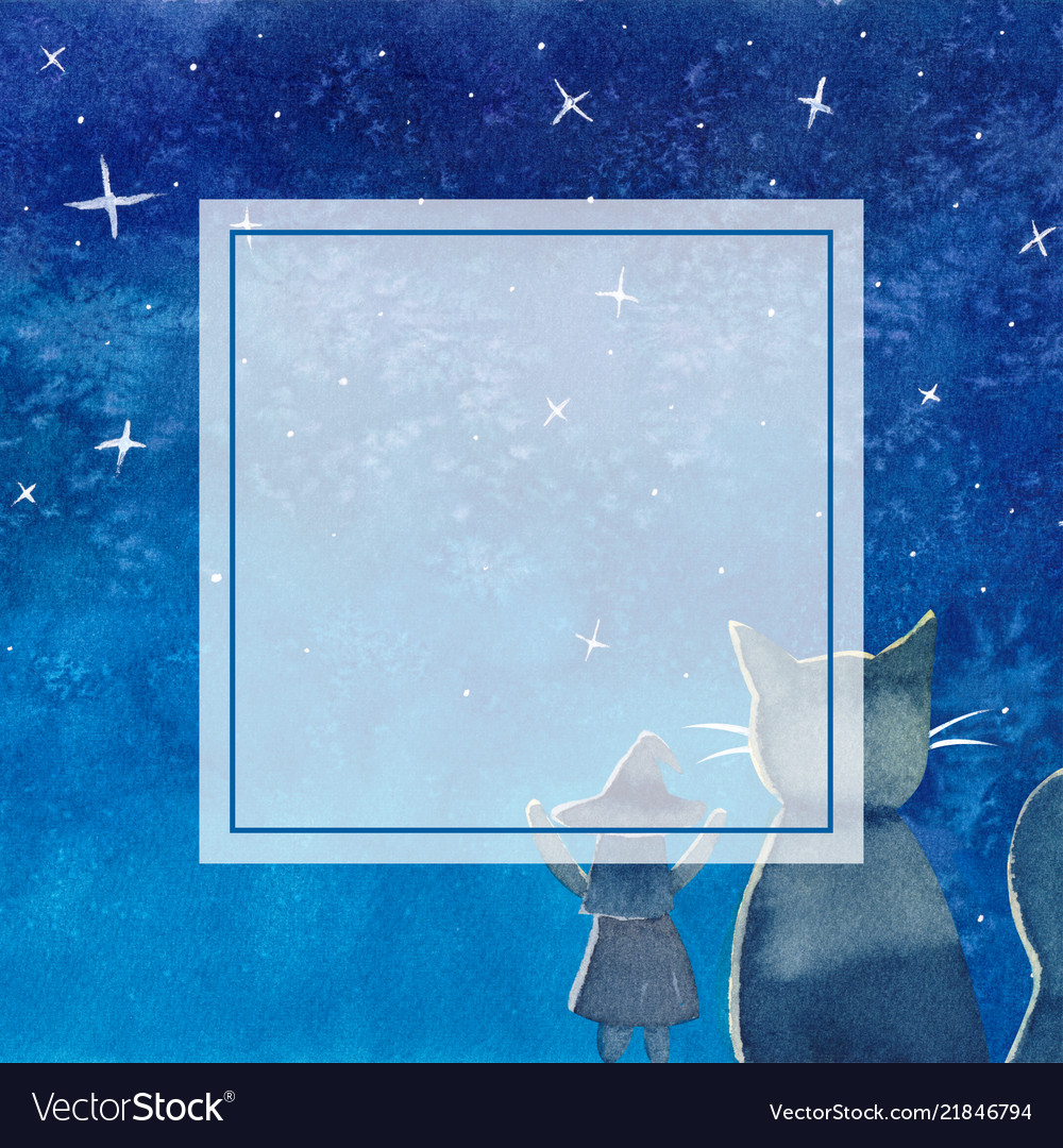 Witch and cat under blue galaxy night sky banner