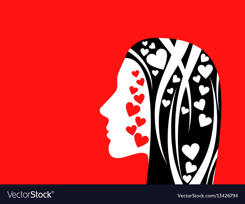 Womans face on a red background vector image