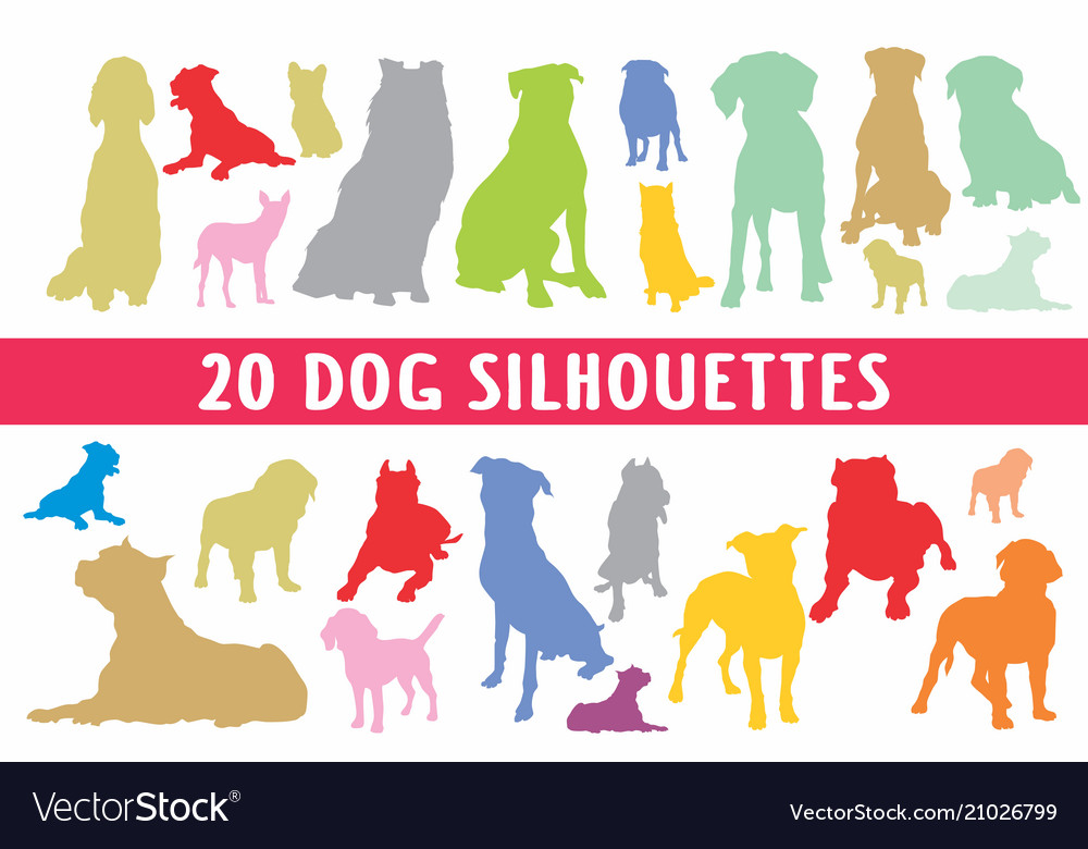 20 dogs different silhouettes designed in style
