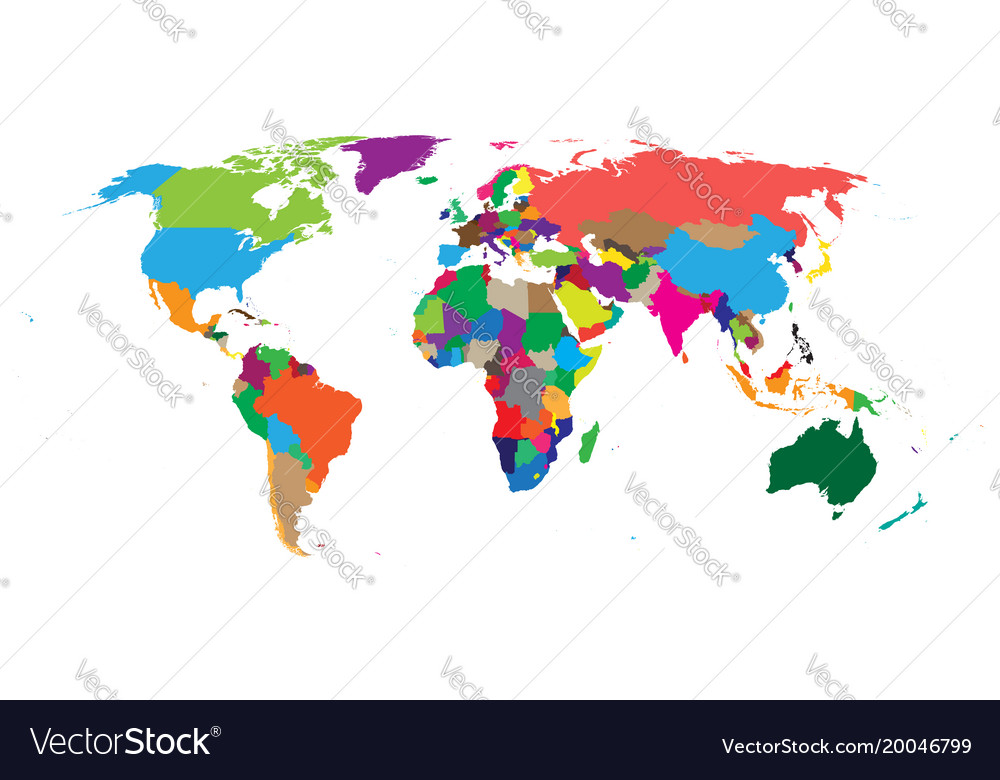 Blank colorful political world map isolated on
