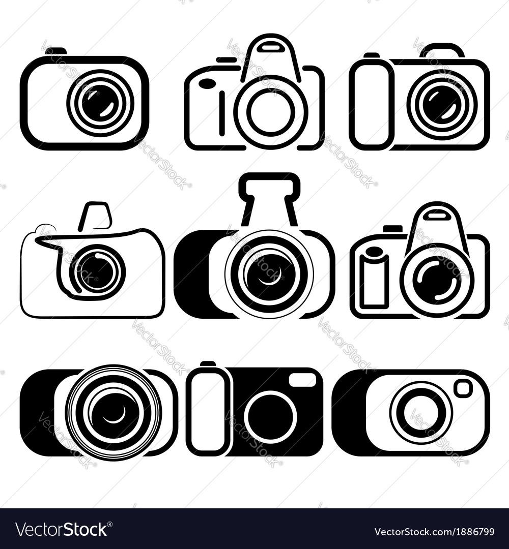 Camera set symbols Royalty Free Vector Image - VectorStock