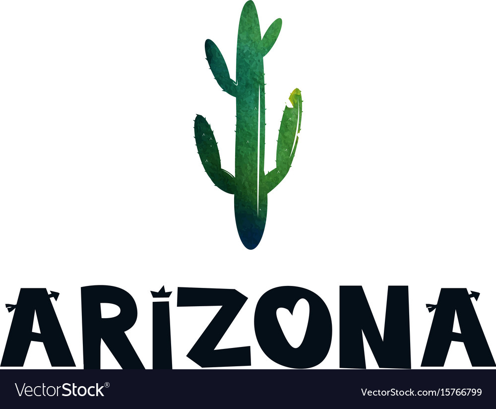 Card with green cactus and text arizona black and vector image