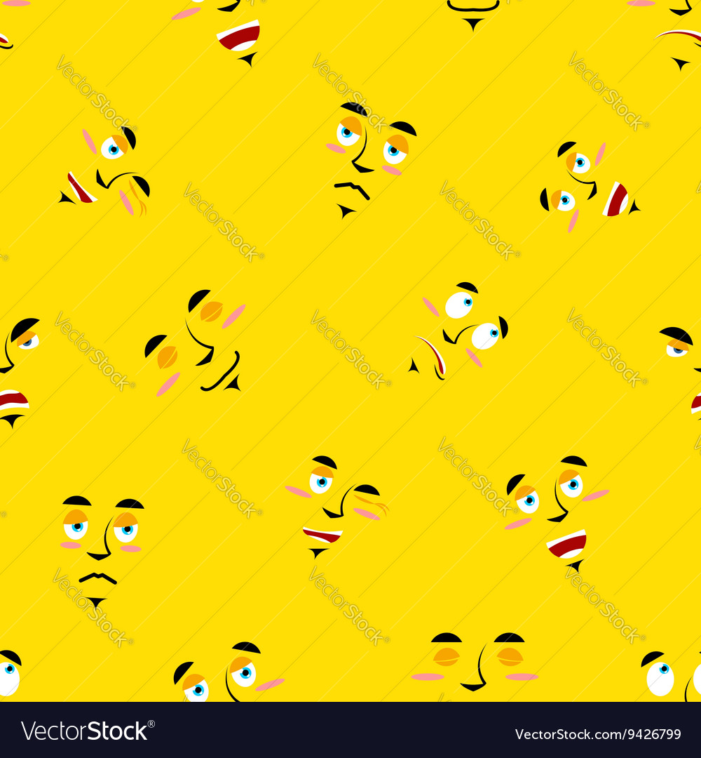 Cartoon faces seamless pattern Set of emotions on