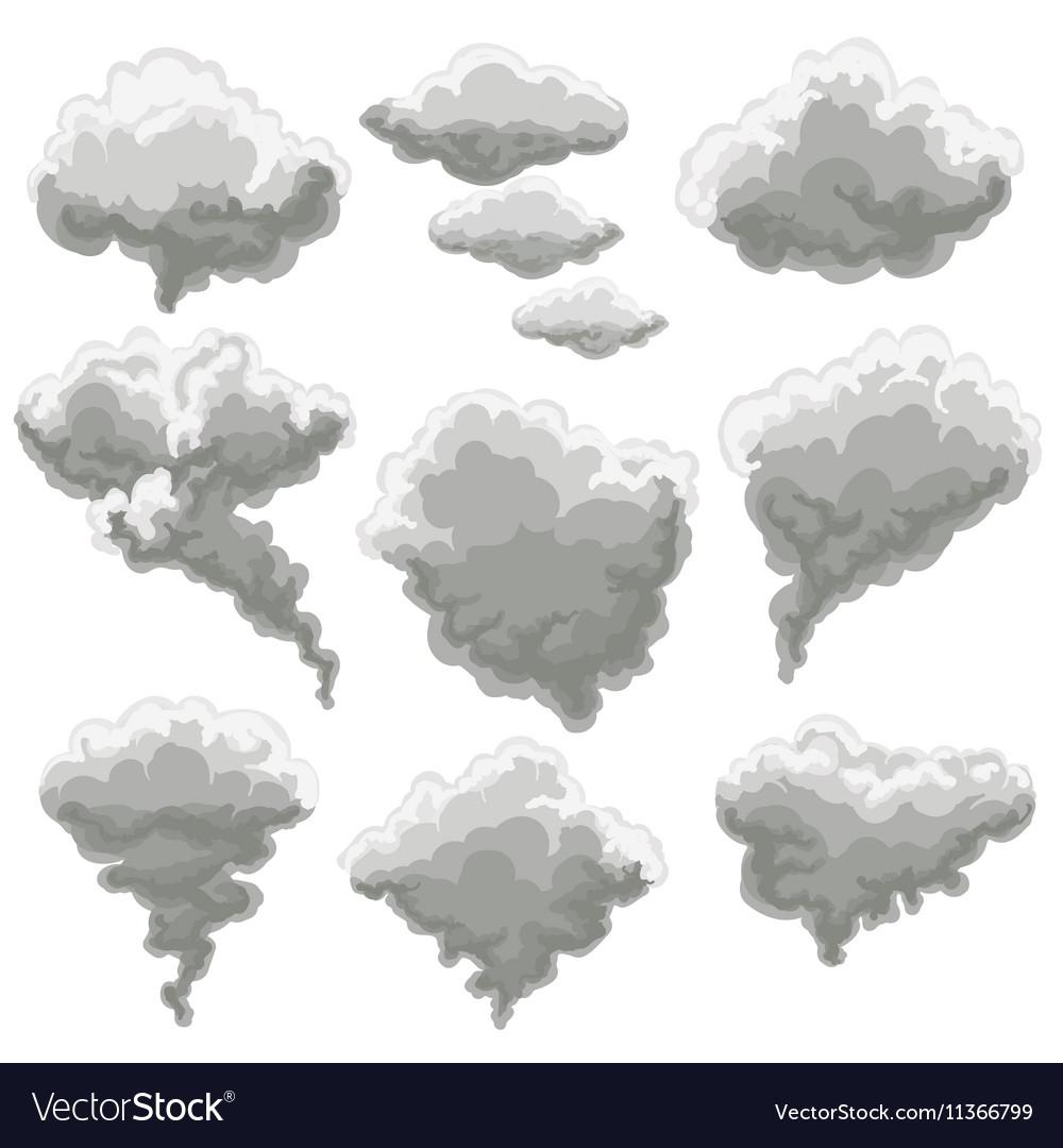 Cartoon smoking fog clouds vector image