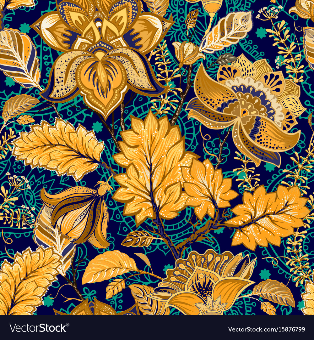 Colorful seamless pattern floral background vector image