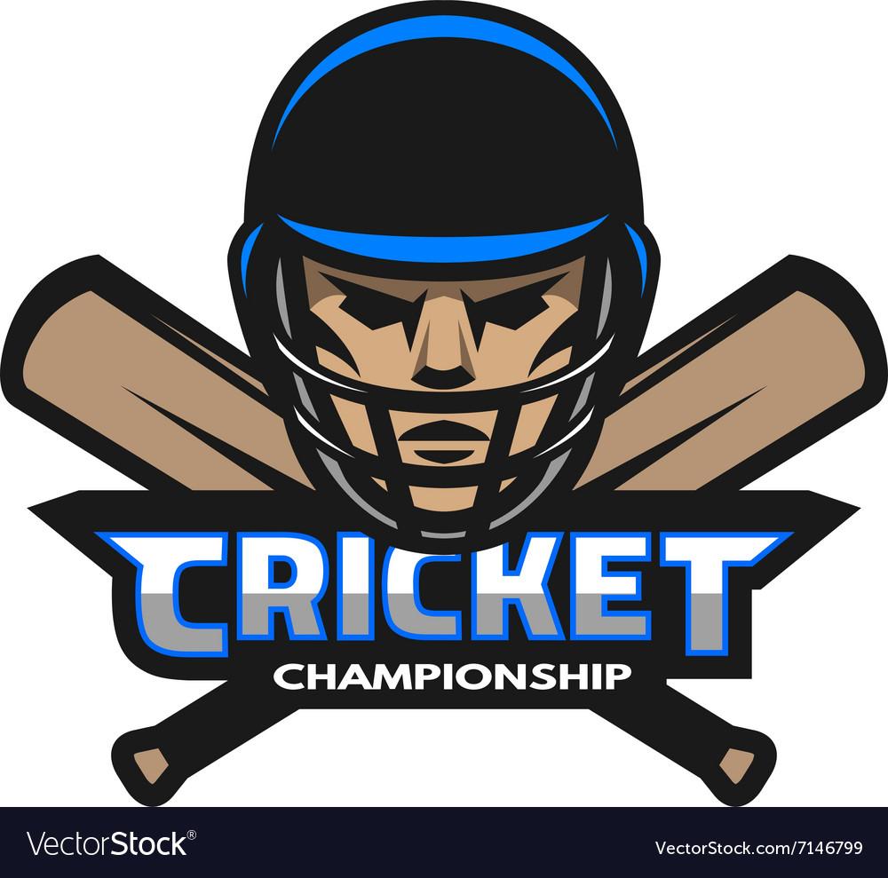 Cricket player and bats Sport logo vector image