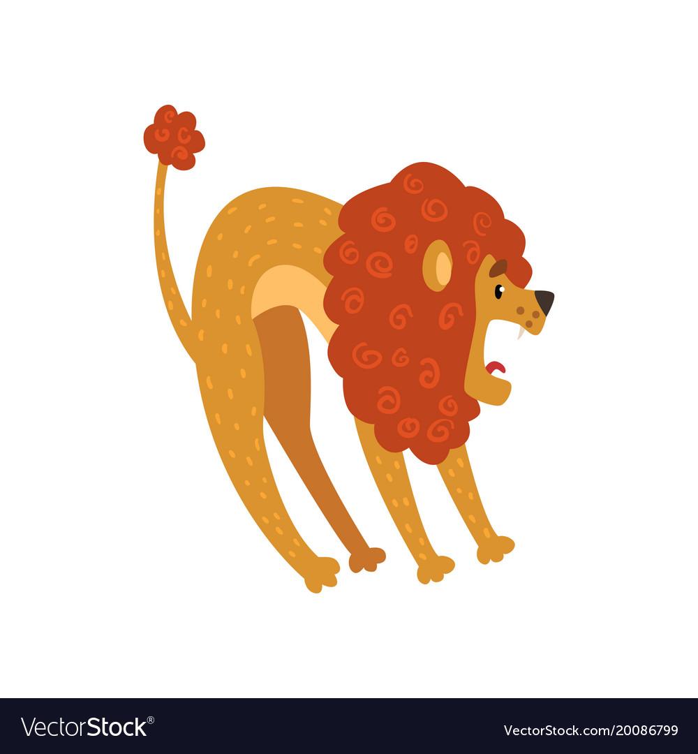 Cute lion cartoon character roaring