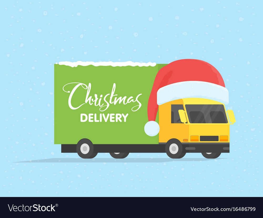 Delivery transport truck van with gift box pack