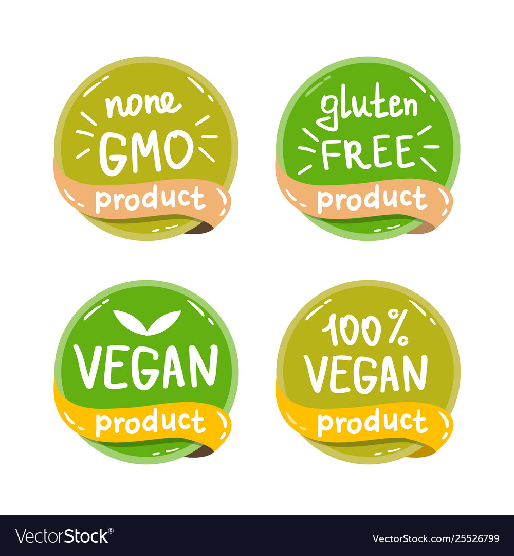 Eco organic bio logos stickers set