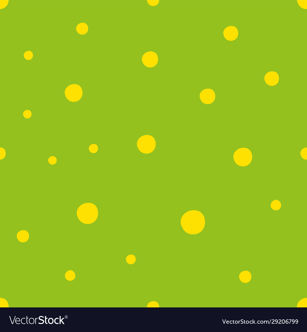Green seamless pattern with yellow small circles