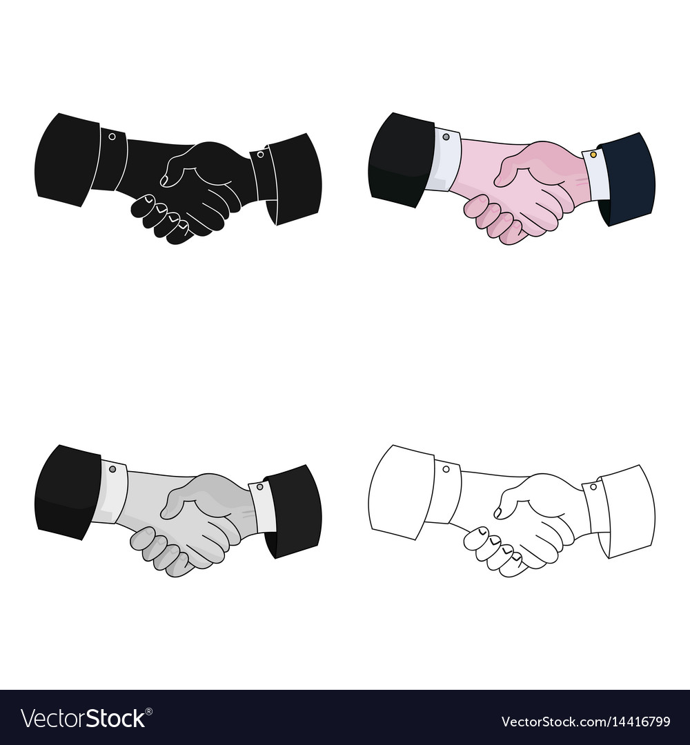 Handshake icon in cartoon style isolated on white