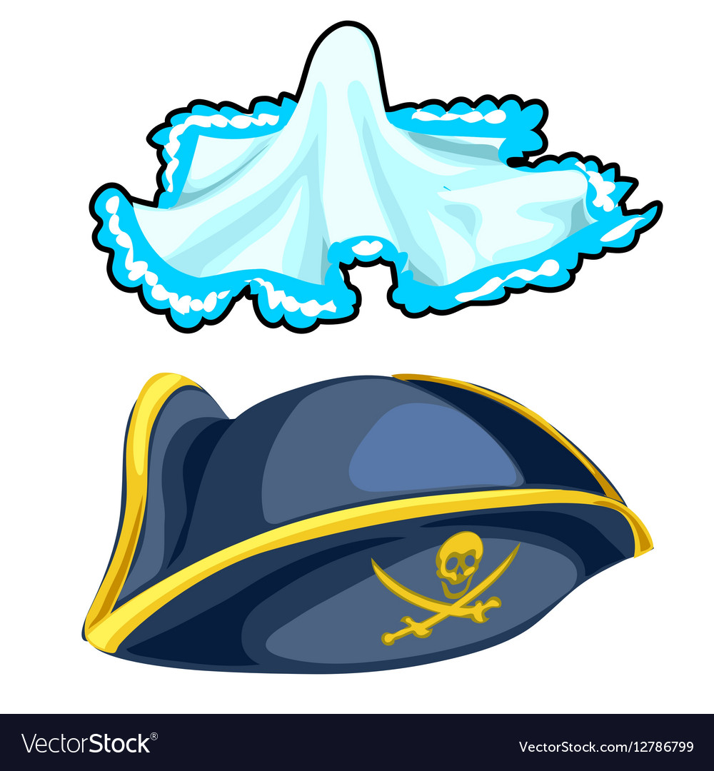 Pirate cocked hat and vintage handkerchief vector image