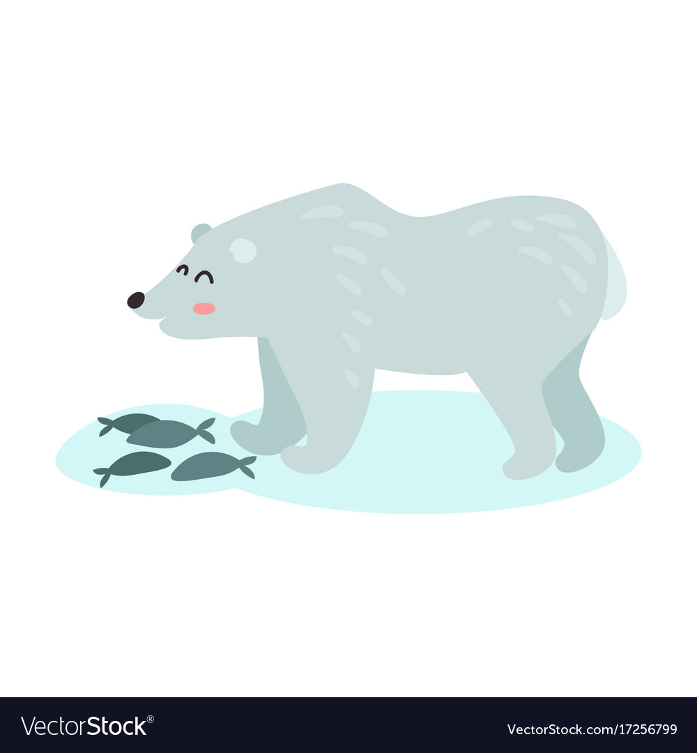 Polar Bear Catching Fish Colorful Royalty Free Vector Image