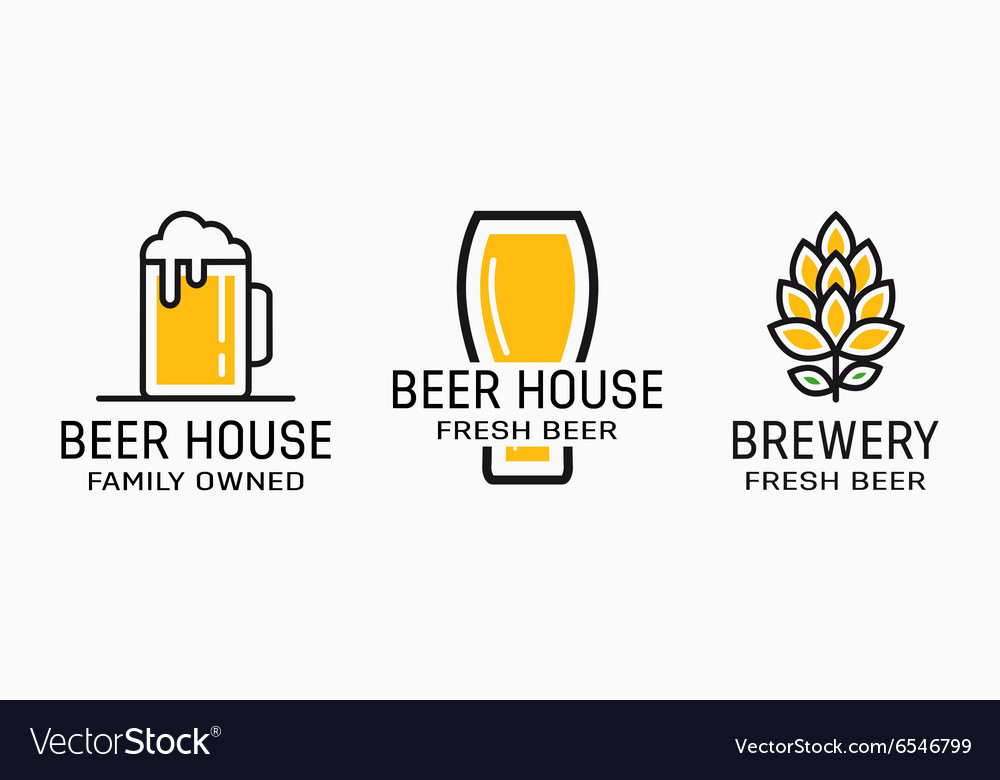 Set of vintage beer and pub logos Labels with