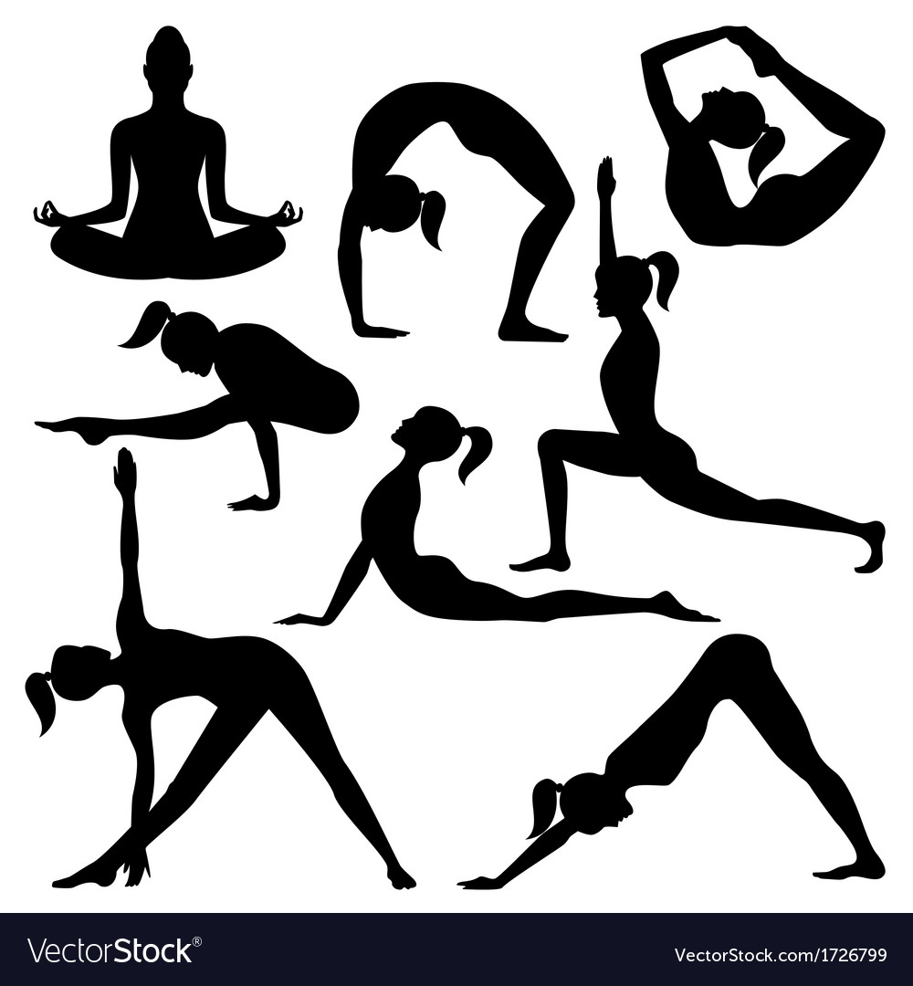 Silhouettes of yoga positions