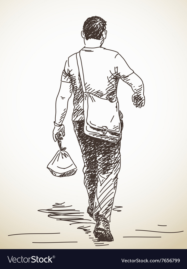 Sketch of walking man from back