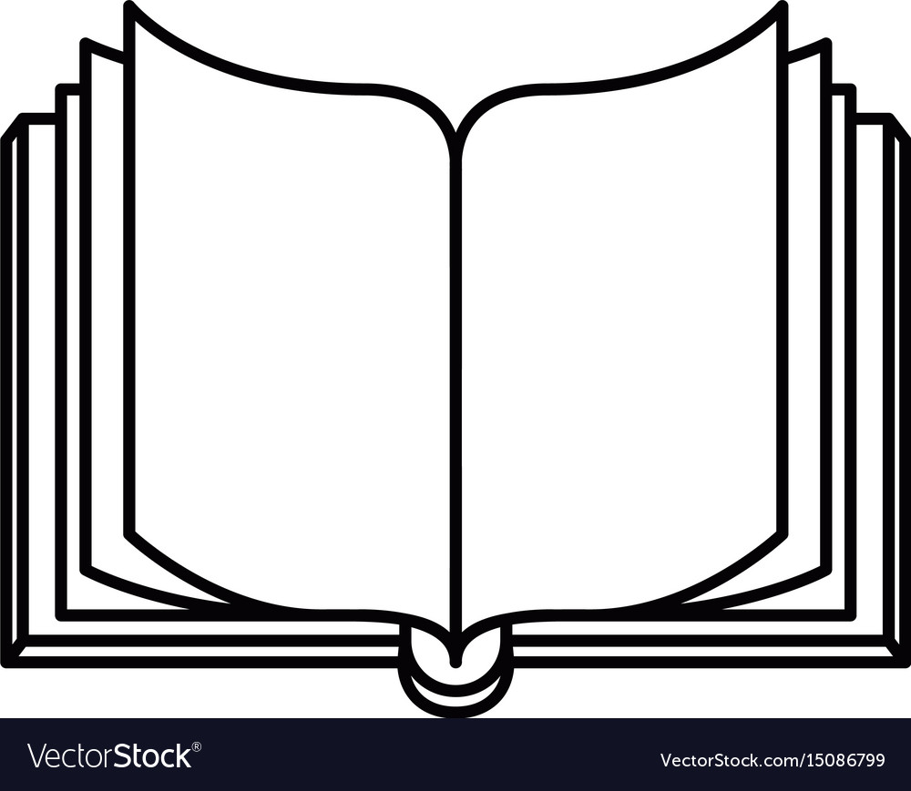 sketch silhouette image front view open book vector image