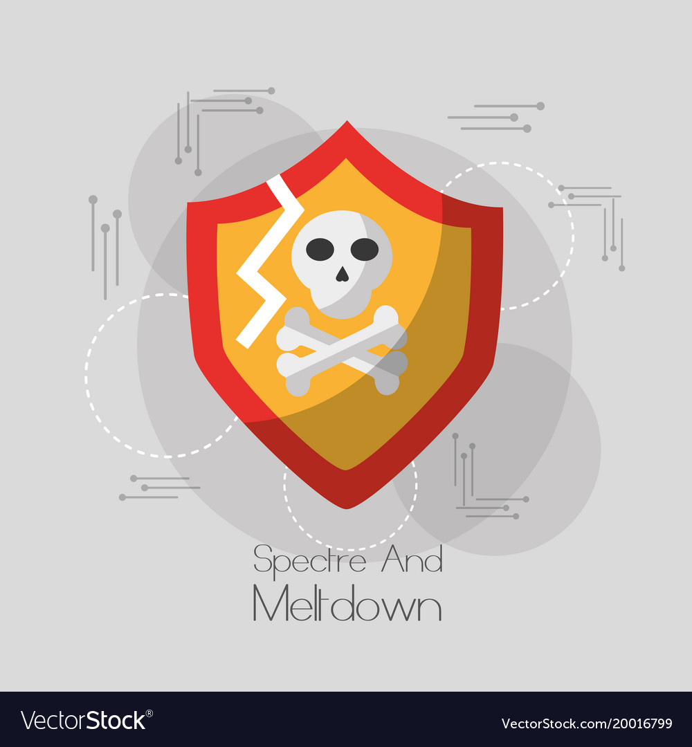 Spectre and meltdown shield protection skull bones vector image