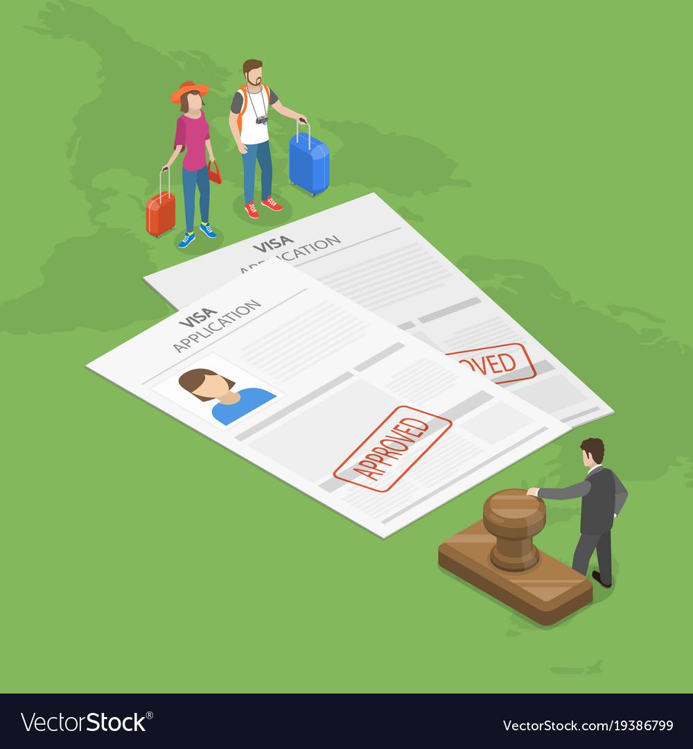 Visa application flat isometric concept