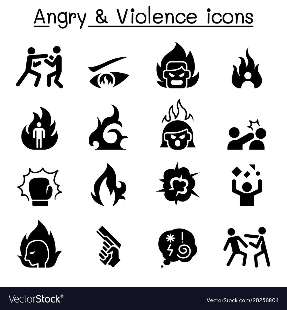 Angry violence icon set