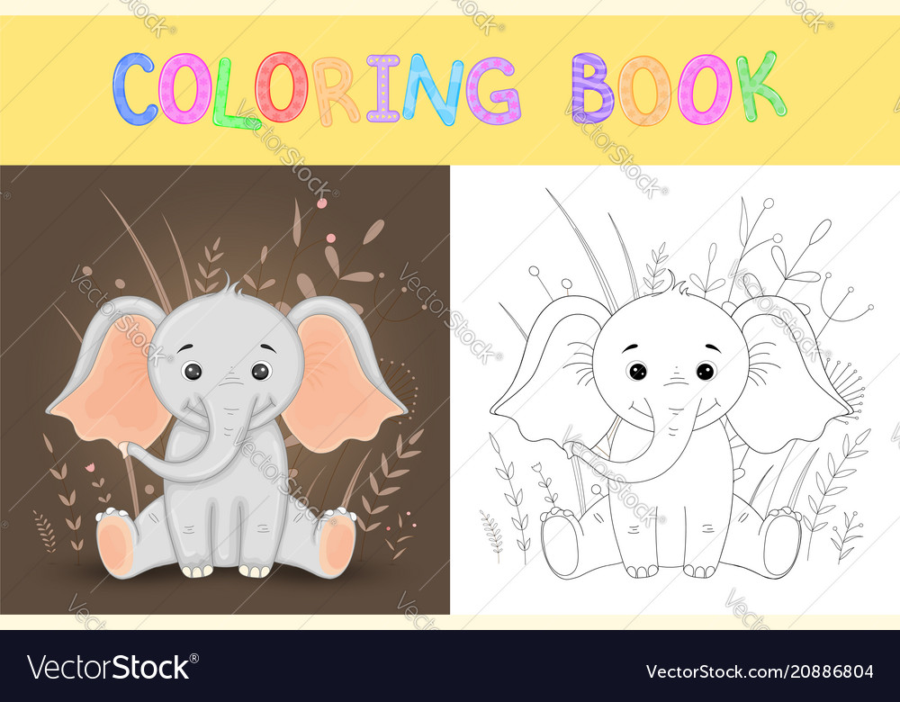 Children s coloring book cute cartoon elephant