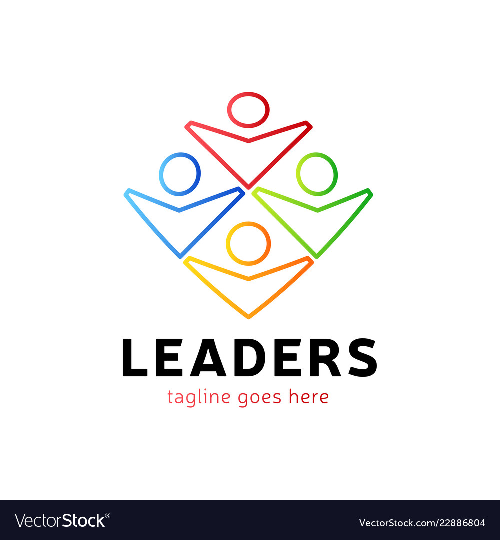 Four human group with leader or boss icon logo