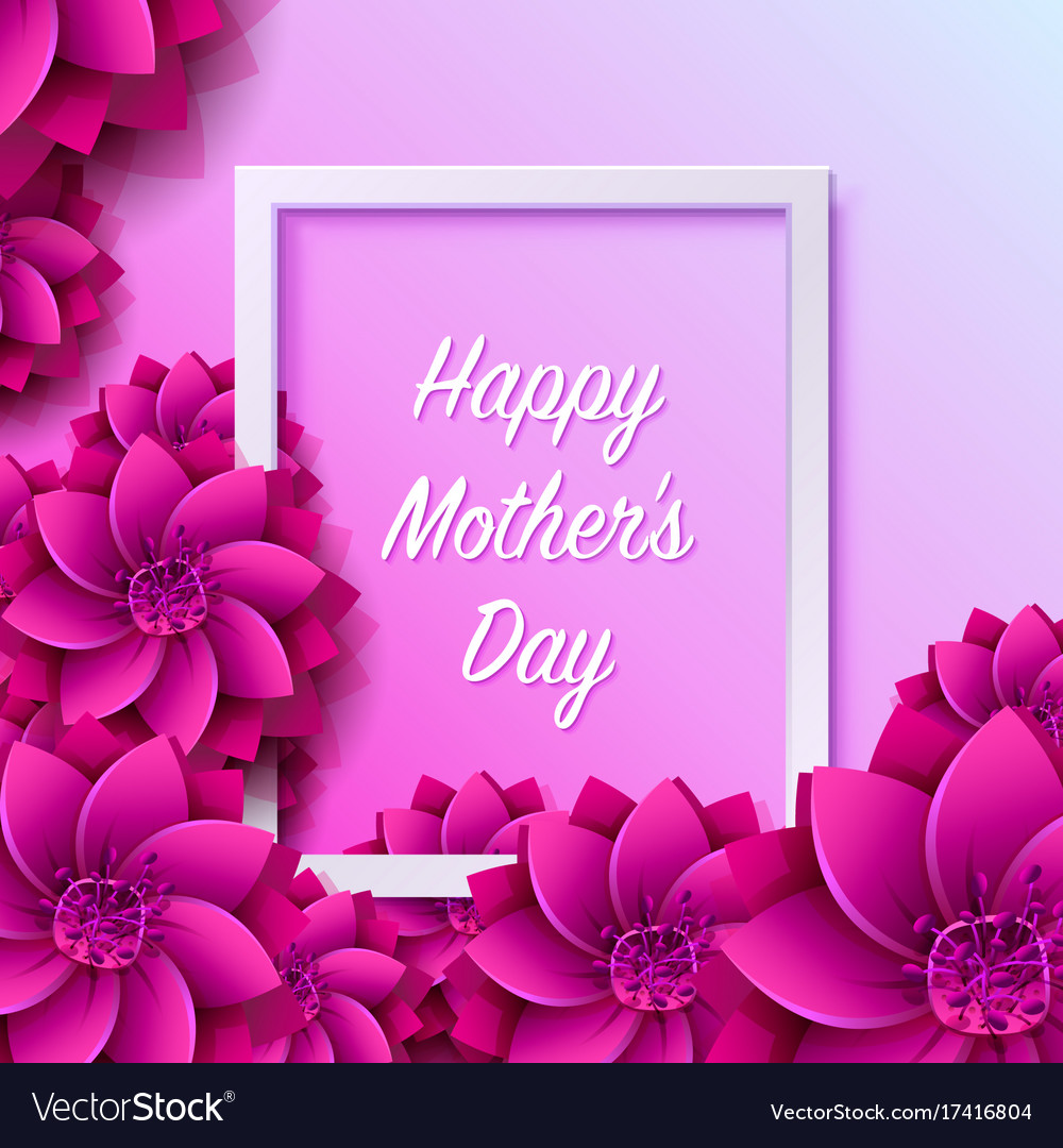 Happy mother day frame flower signboard Royalty Free Vector