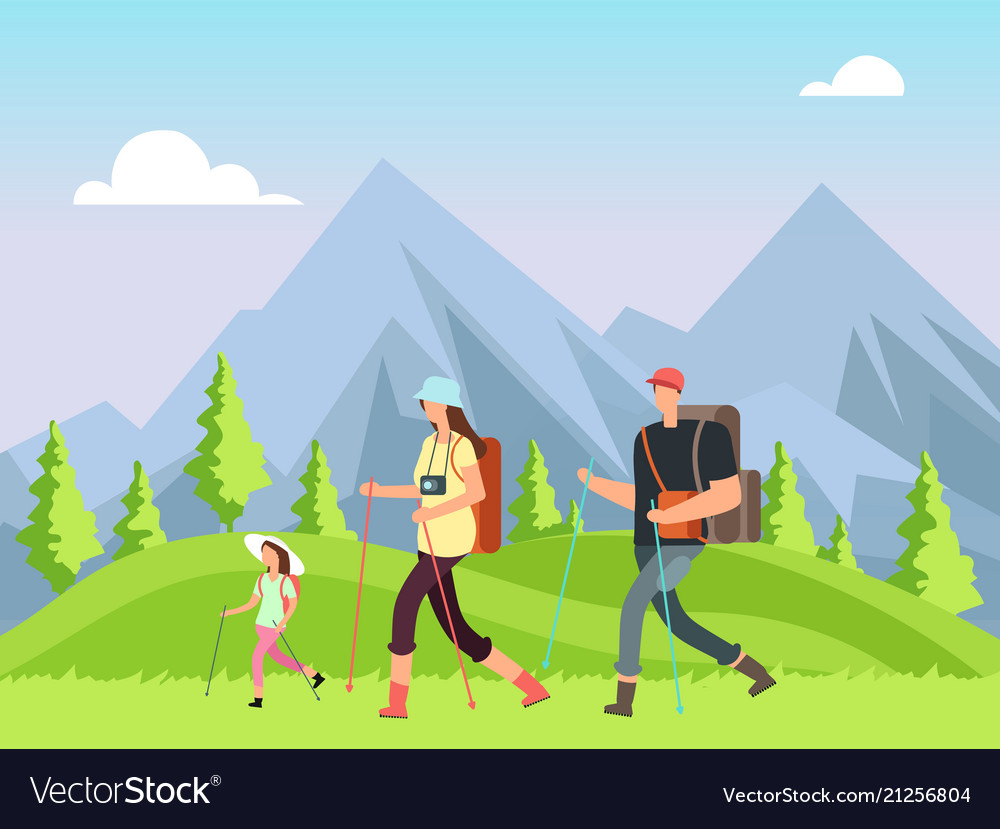 Hiking family in nature trekking man woman and