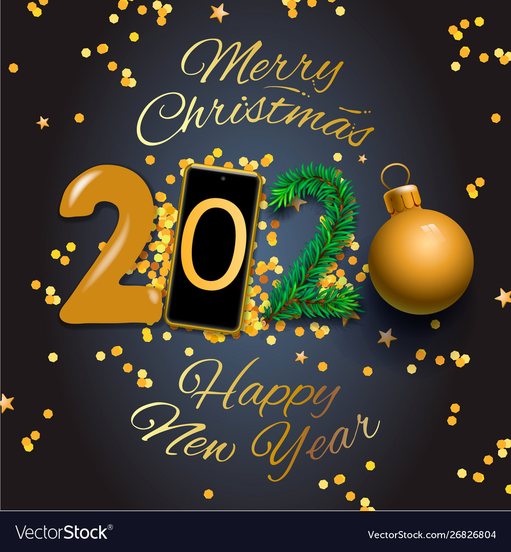Merry Christmas Message Greetings 2020 Merry christmas and happy new year 2020 greeting Vector Image