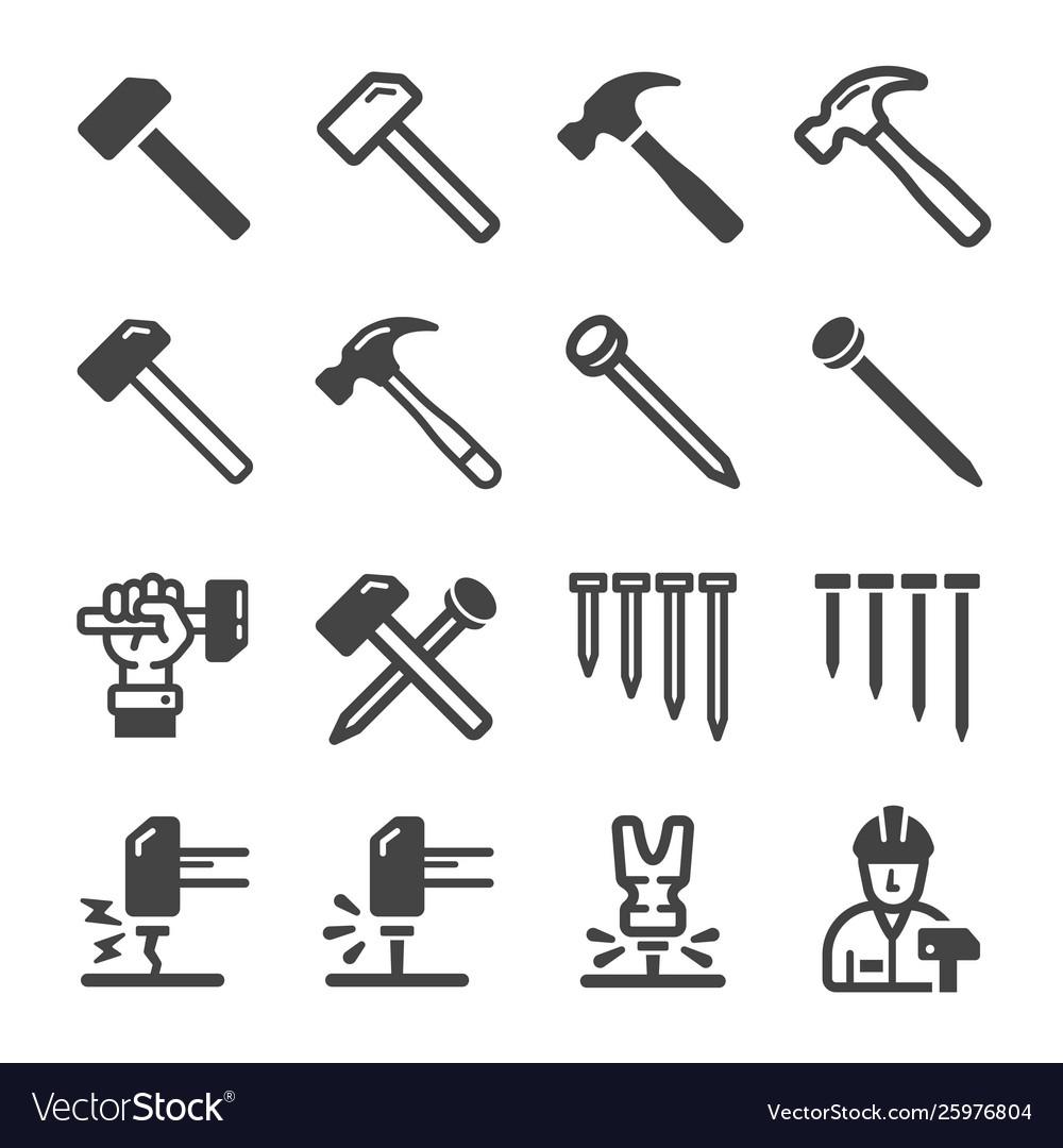 Nail and hammer icon set